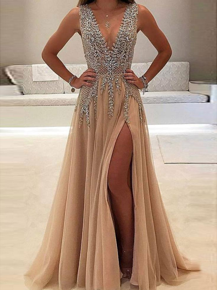83b6014ad3b8e SheerGirl prom dresses A-line V-neck Nude tulle Evening Dress with Slit Sexy