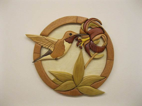 HUMMINGBIRD, wood carved wall decor, intarsia art by RAKOWOODS ...