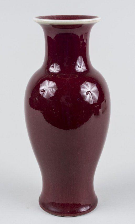 Chinese Porcelain Oxblood Vase Everted Rim Waisted Neck And Ovoid