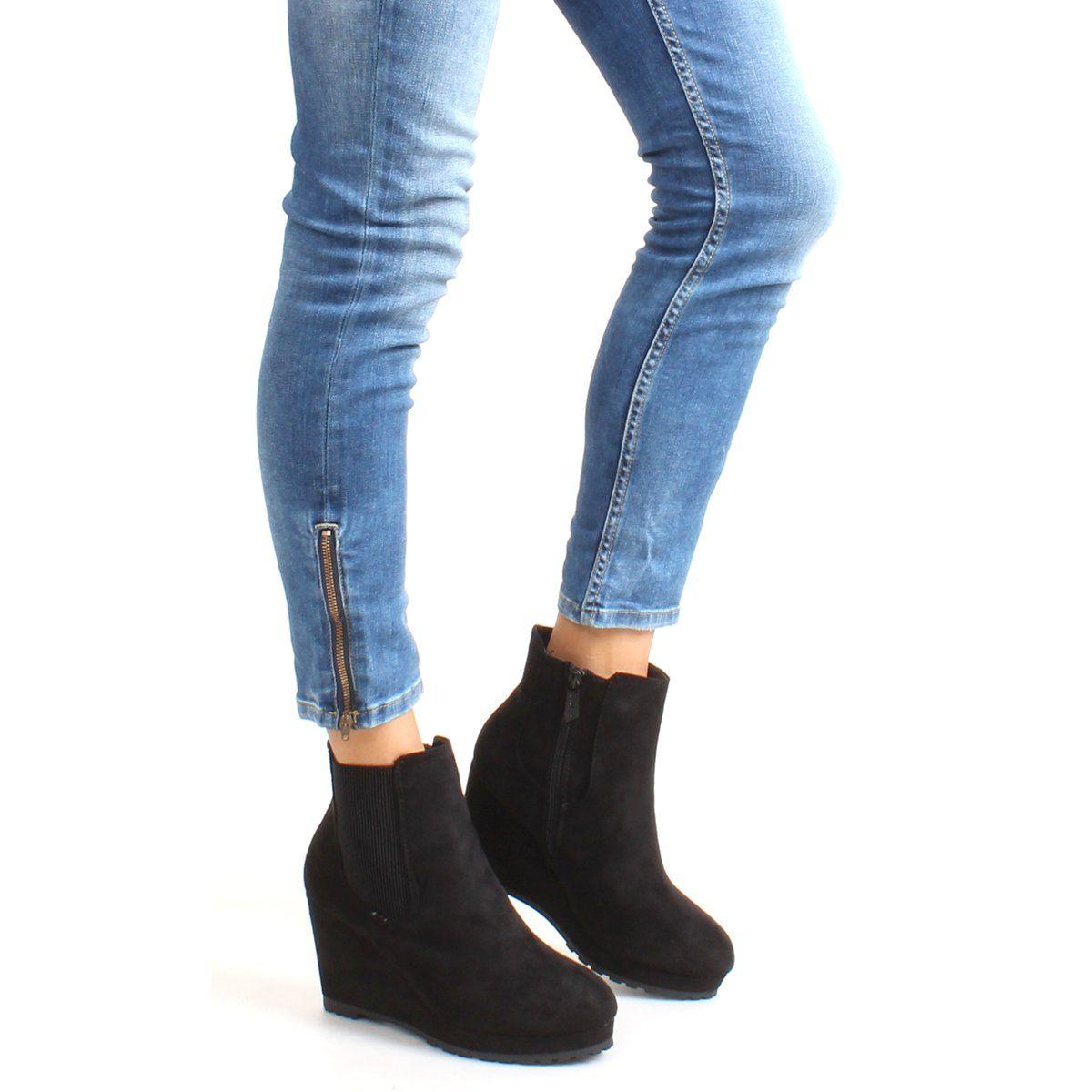 Botki Damskie Obuwiedamskie Czarne Zamszowe Sztyblety Na Koturnie Zy9106 Black Obuwie Damskie Fashion Boots Shoes