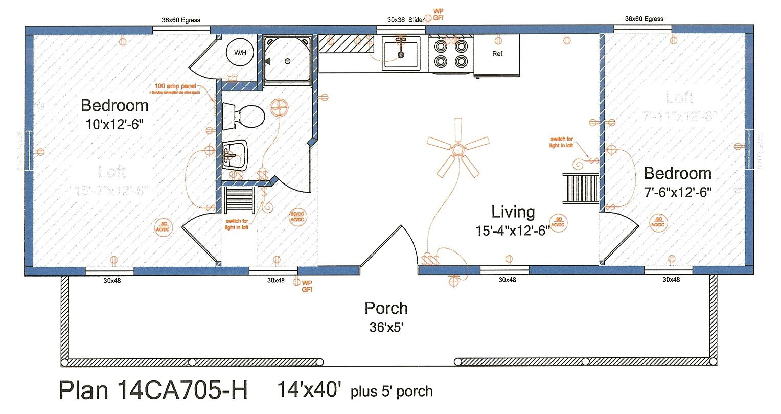 14x40 Cabin Floor Plans Tiny House In 2019 Cabin Floor Plans