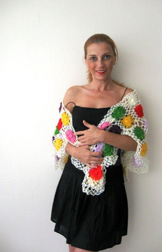 Triangle Shawl with Colorful Angora Flowers  http://www.etsy.com/listing/82236816/triangle-shawl-with-colorful-angora