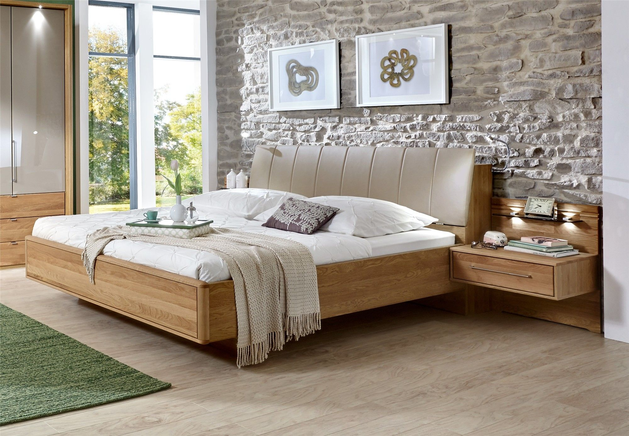 stylform selene semi solid oak faux leather modern bed 16230 | 15d88167c43ba322595e93808798b1f4