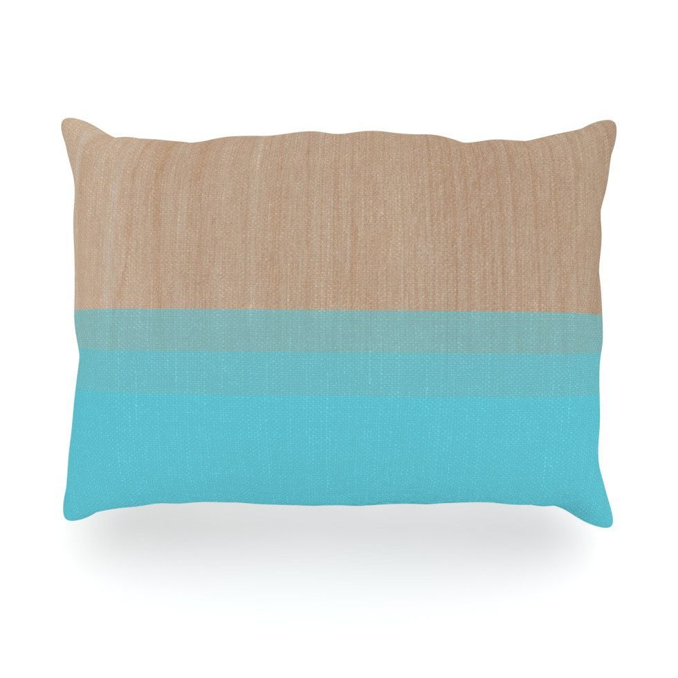 "Brittany Guarino ""Art Blue"" Aqua Wood Oblong Pillow"