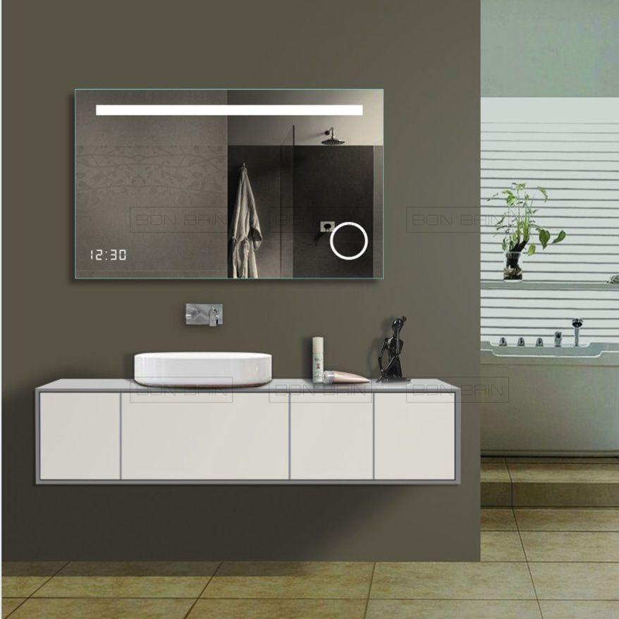 Miroir lumineux avec affiche horloge design rectangulaire - Glace de salle de bain avec eclairage ...