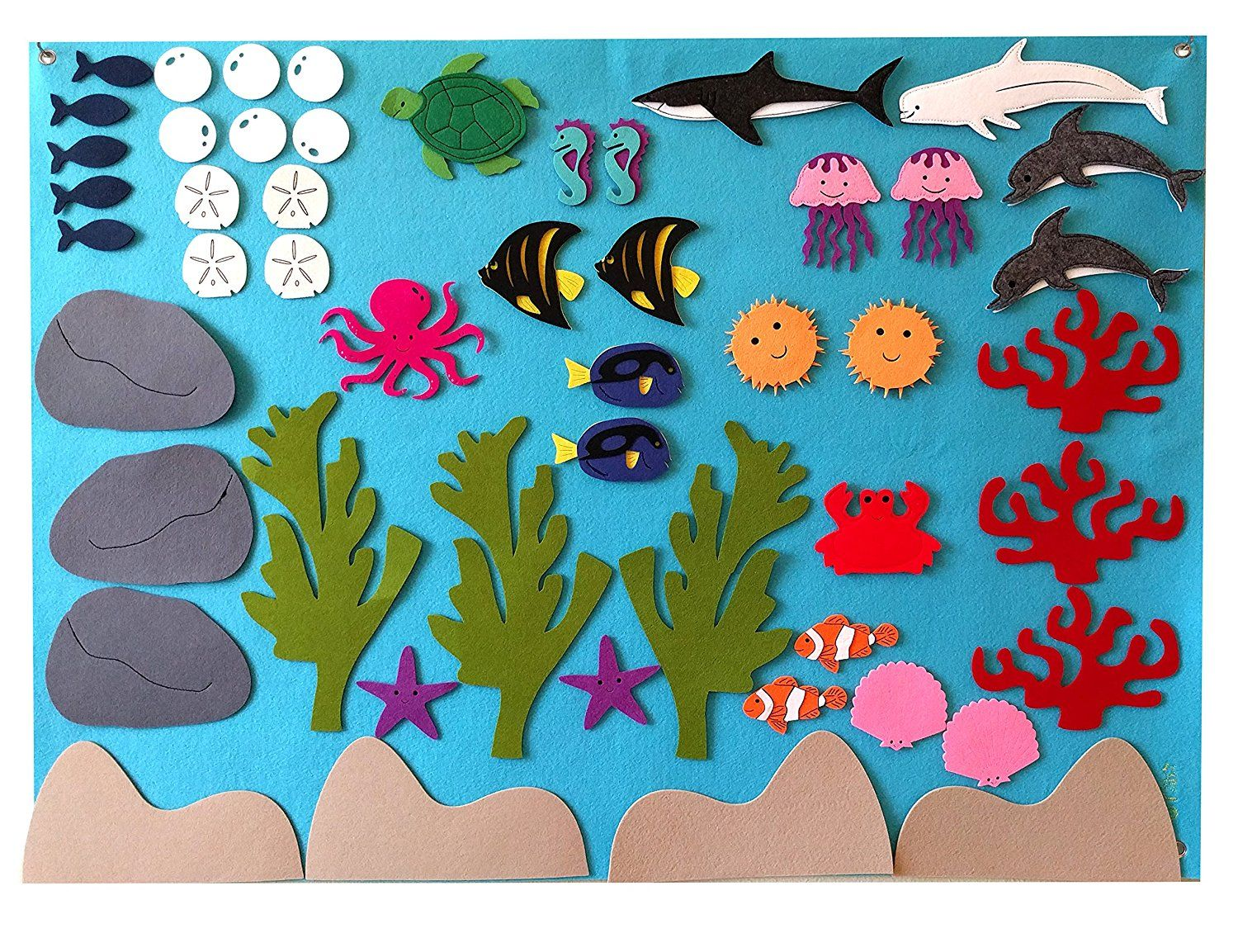 7f5dc35bd76c98 Amazon.com : Felt Flannel Board Under the Sea Ocean Aquarium Fish Animals  Deluxe Set Giant 3.5 Ft 50+ Pieces Wall Hanging Interactive Play Kit Story  DIY ...