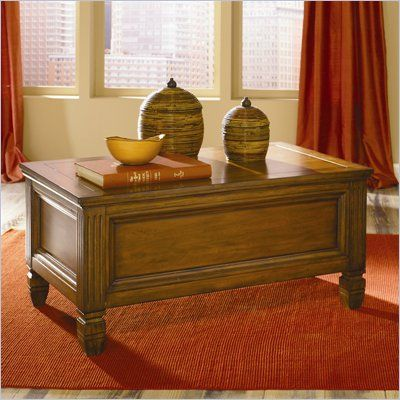 Hammary Hidden Treasures Trunk Cocktail Table In Oak Finish   T73490 00    Lowest Price