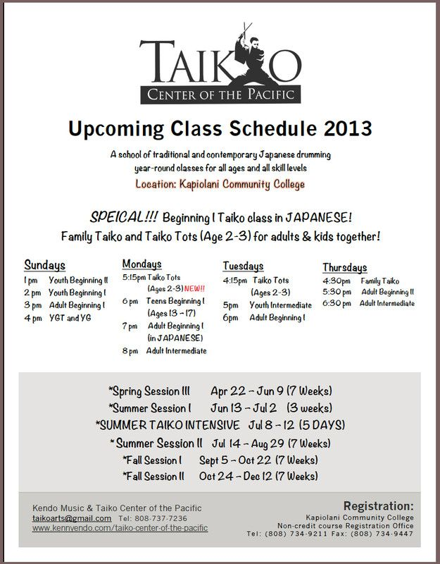 Honolulu, HI Taiko Center Of The Pacific Now Offers Year Round   Music  Resume  Music Resume For College