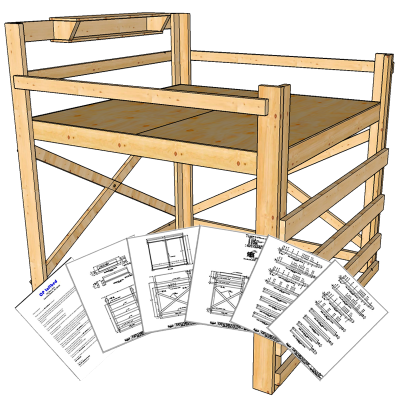 King Size Loft Bed Plans Tall Height Loft bed plans