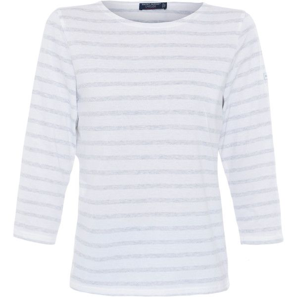 Saint James Galathee White And Grey Striped Top ($95) ❤ liked on Polyvore featuring tops, stripes, grey shirt, white 3/4 sleeve shirt, cotton shirts, white shirt and striped boatneck top