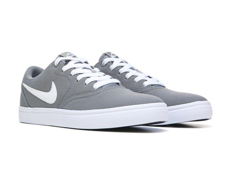 c5a55c9d09c Nike Nike SB Check Solar Canvas Skate Shoe Grey White