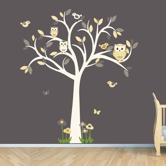 Owl Decal Tree Wall Sticker Goldish Yelllow Grey Nursery Decor Lemonade E Design