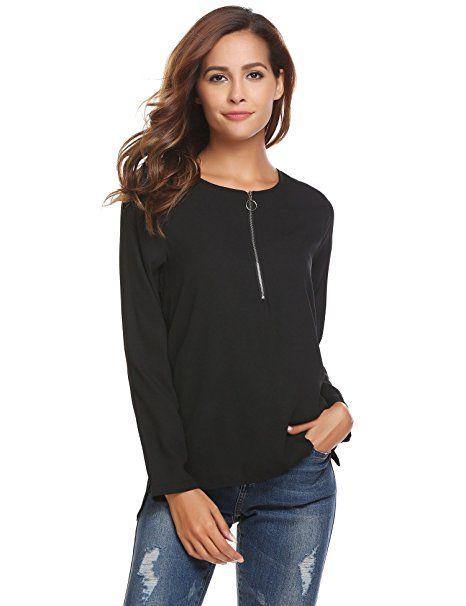 92c2aeb205074b Finejo Damen Elegant Blusen Tunika Blusenshirt Langarmshirt Rundhals Oberteile  T-Shirt mit Reißverschluss Vorne:
