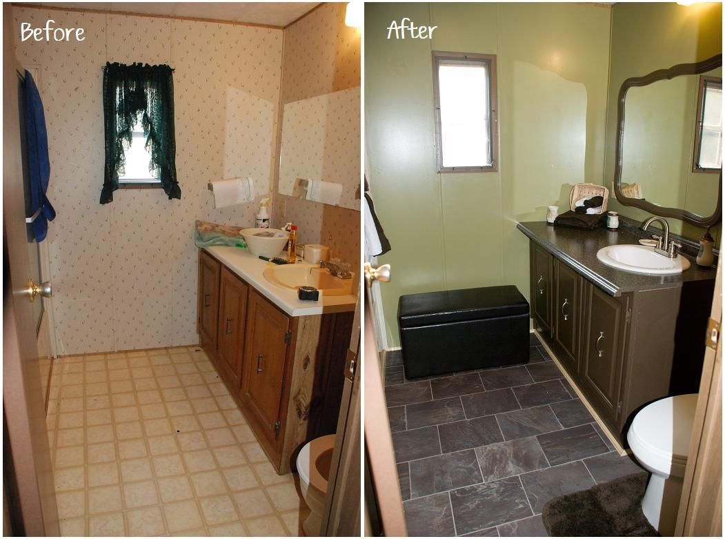 Photos On mobile home bathroom update
