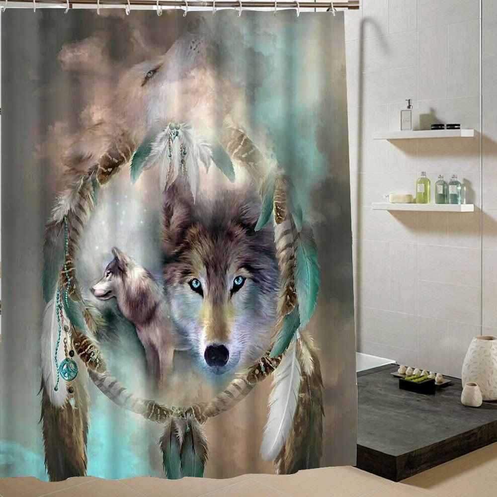 Wolf Waterproof Shower Curtain Wolf Shower Curtain Custom