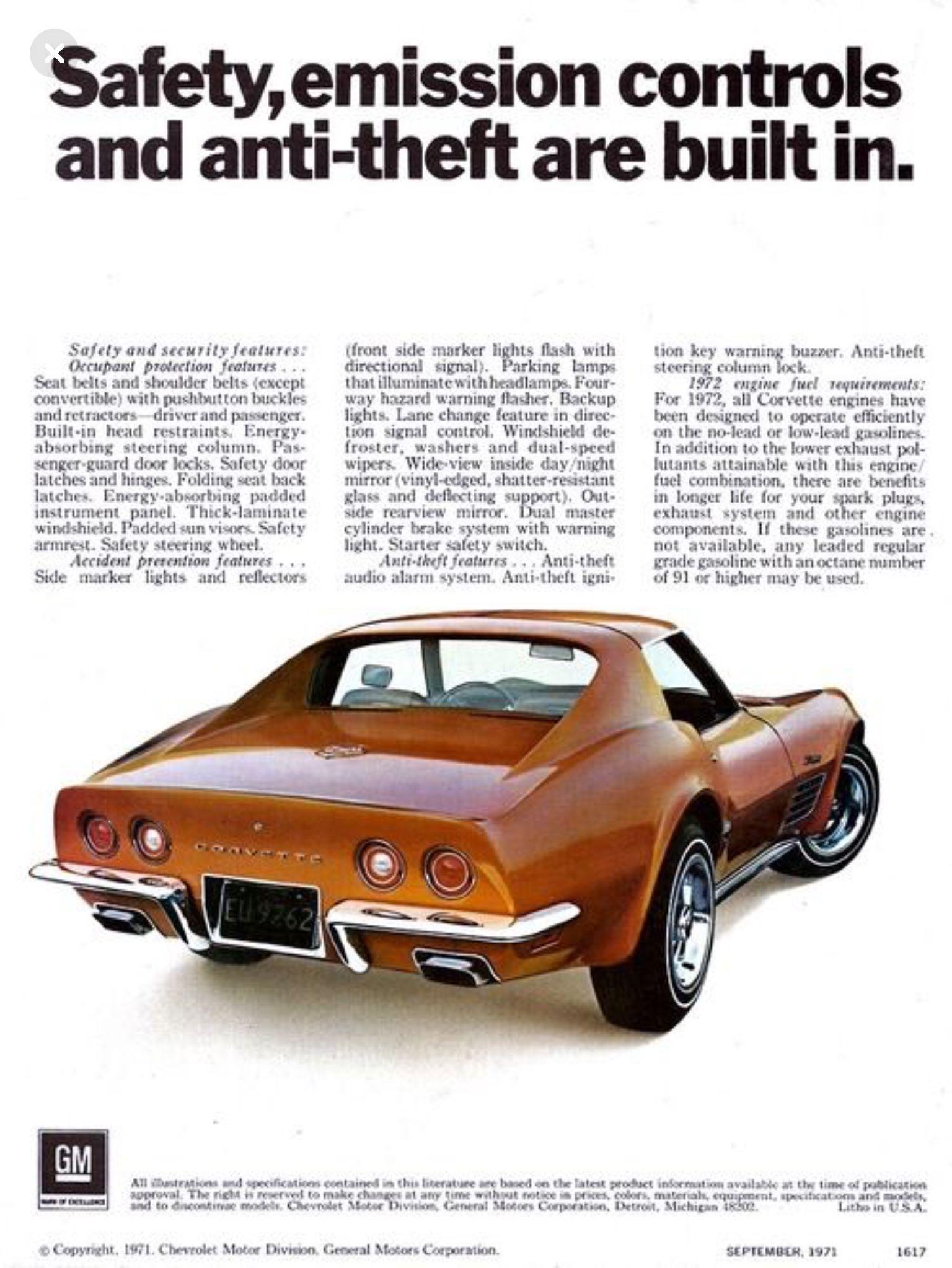 1972 Chevrolet Corvette Corvette Vintage Corvette Automobile Advertising