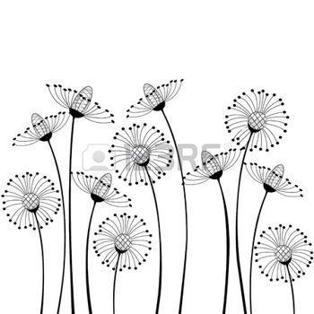 dessin noir et blanc fleurs des champs sur fond blanc Illustration