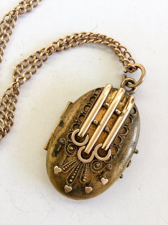a7cdece1c Antique Victorian Pendant Locket and chain Necklace Gold fill aesthetic  period Etruscan secret compa