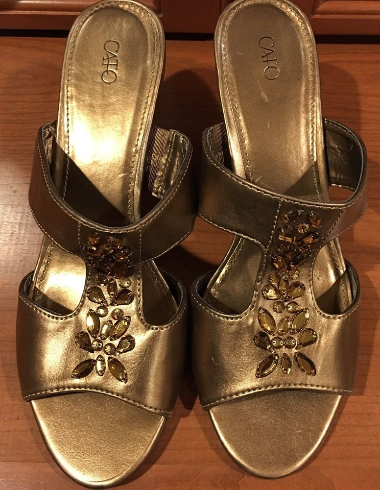 2efbfb527675 Cato Open Toe Heel Pump Womens Shoes Bling Size 9 Bronze Vegan ...