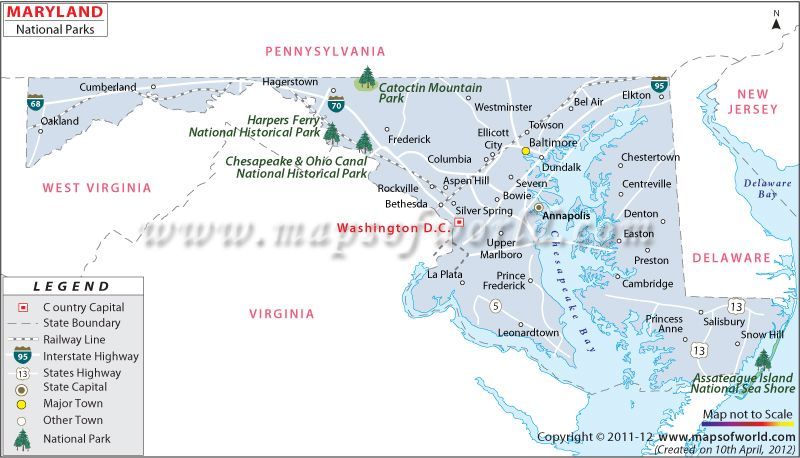 National Parks in Maryland USA Map Travel Destinations