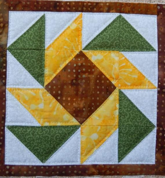 Star flower miniature quilt PDF pattern #starquiltblocks