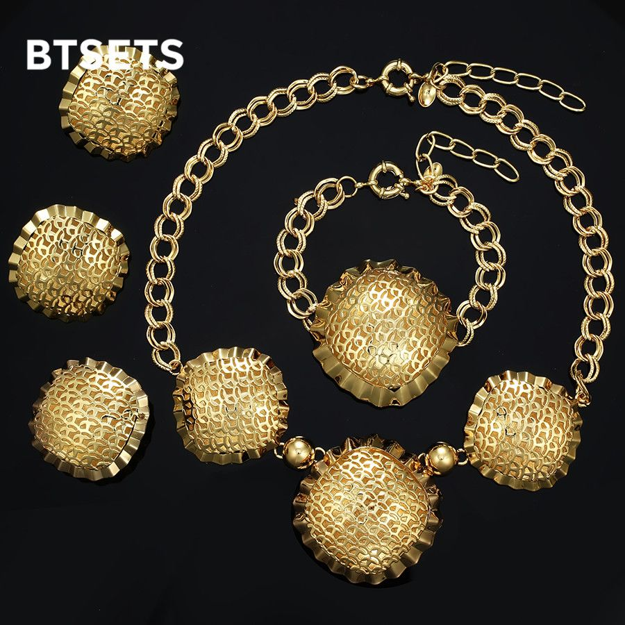 Btsets fashion jewelry sets big folwer pendant necklace earrings