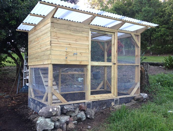 Garden Coop Built On A Slope Chickens Backyard