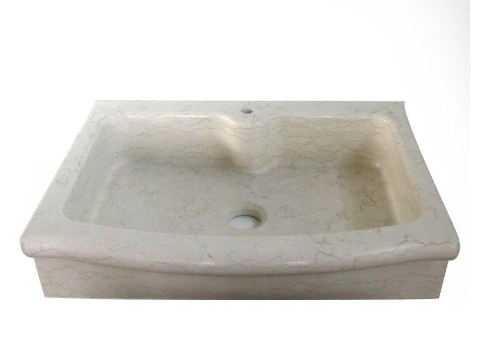 Lavello cucina ad una vasca con testa sagomata in marmo Biancone ...