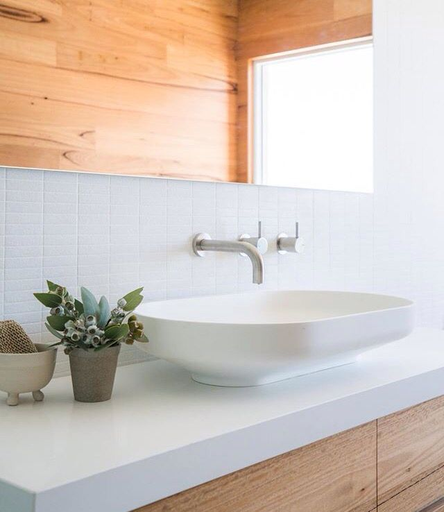 Bathroom white and timber. Divers design construct