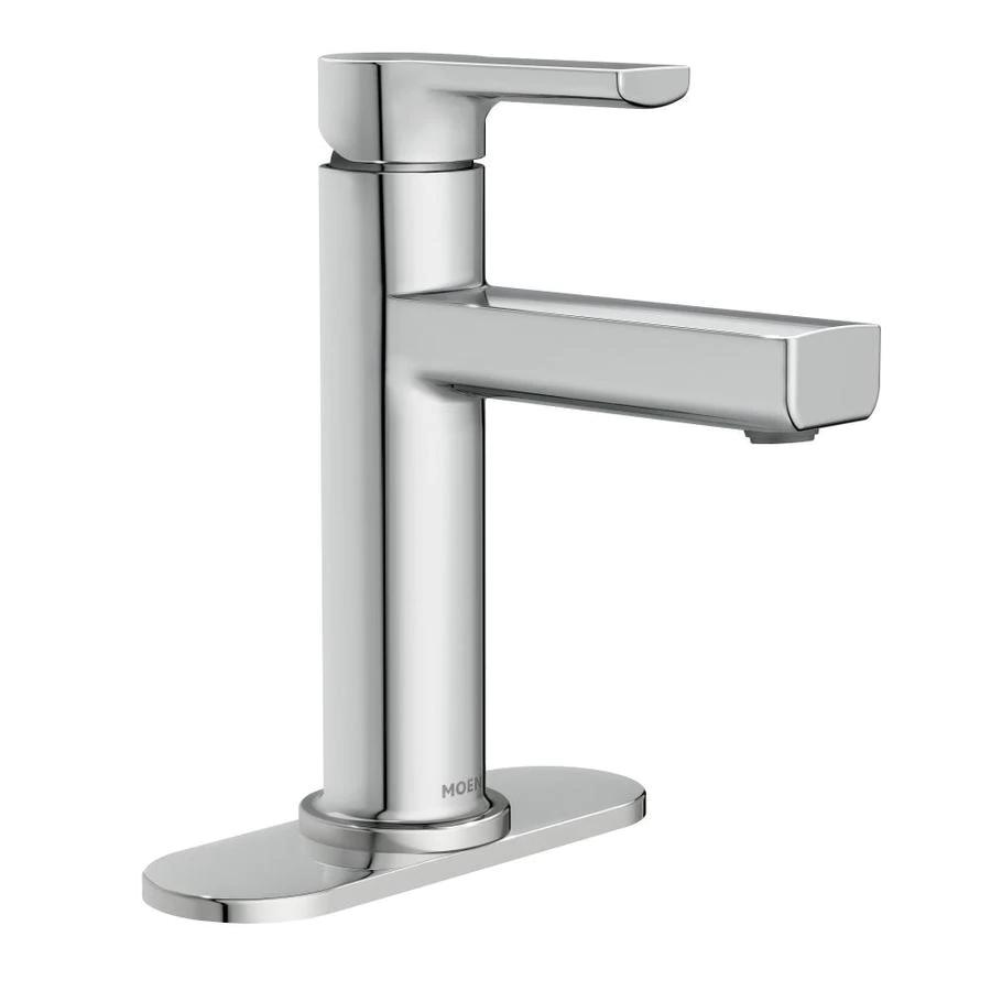 Moen Rinza Chrome 1 Handle 4 In Centerset Watersense Bathroom Sink Faucet With Drain And Deck Plate Lowes Com Sink Faucets Bathroom Sink Faucets Water Sense [ 900 x 900 Pixel ]