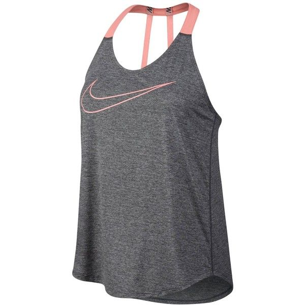 20f8e4187e9d4 Nike Dry Racerback Training Tank Top ($40) ❤ liked on Polyvore featuring  activewear, activewear tops, dark grey heather, nike, nike sportswear and  nike ...