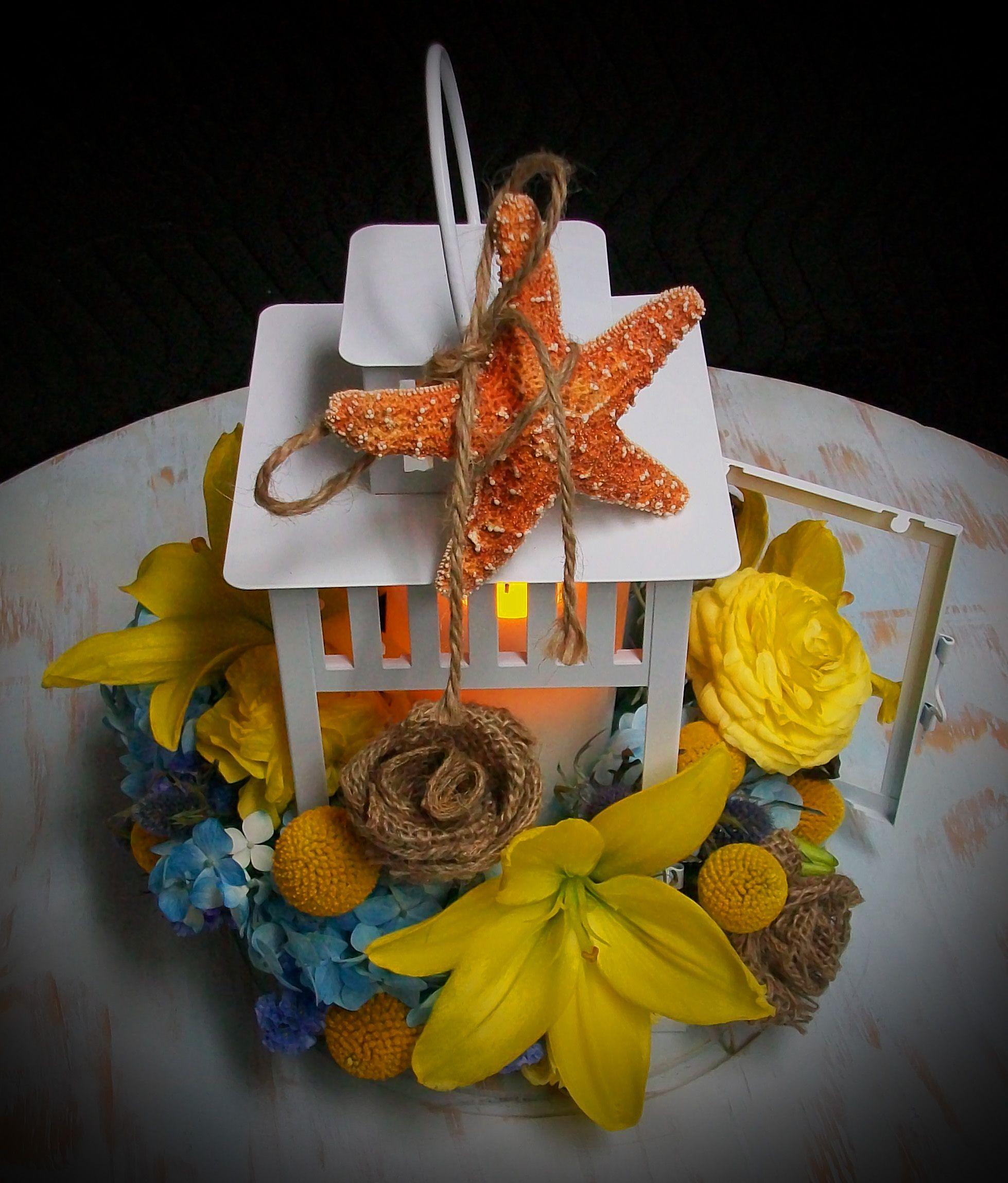 Seaside beach lantern candle starfish centerpiece white