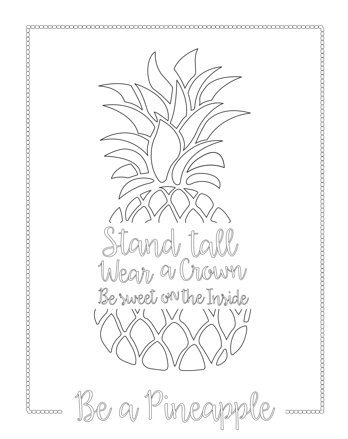 Pineapple Summer Coloring Pages For Adults