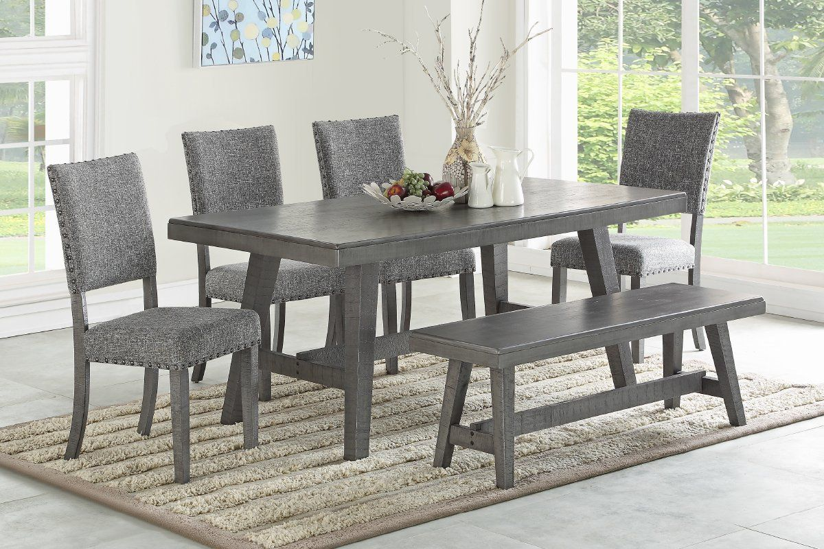 Eclipse Furnishings 6pc Cloverdale Collection Grey Dining Set Grey Dining Tables Dining Table Design Modern Wood Dining Table