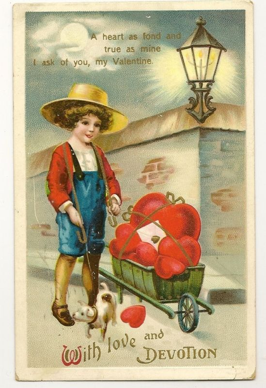 Ellen Clapsaddle Valentine puppy dog cart heart vendor | eBay