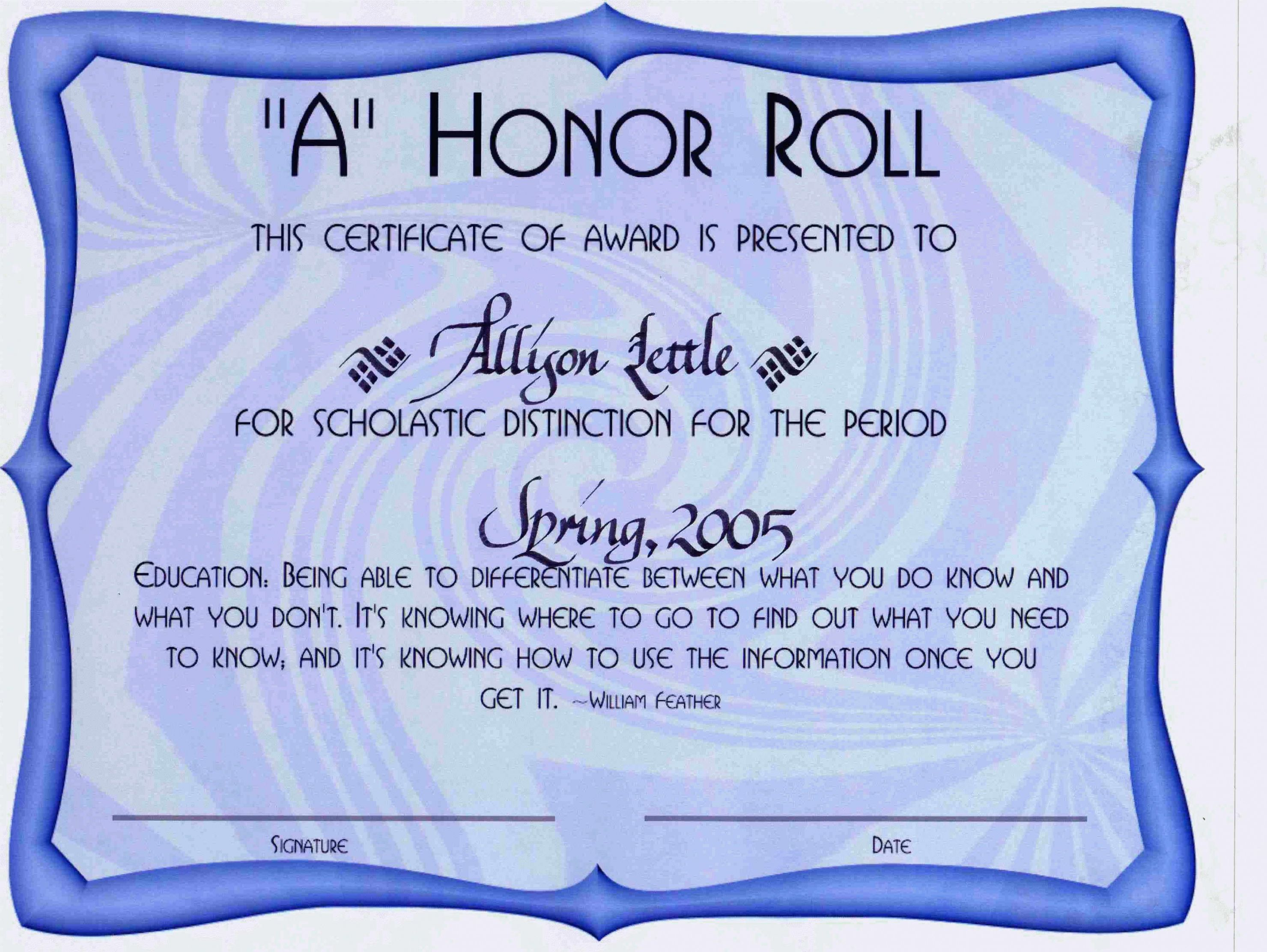 Explore Our Sample Of Honor Roll Certificate Template Free Certificate Templates Gift Certificate Template Honor Roll Honor roll certificate template free