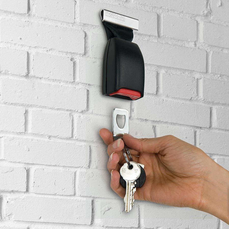 Never lose your car keys again with the Buckle Up Key Holder, a wall  mounted key clip produced from a genuine car seatbelt buckle. A great gift for  car ...