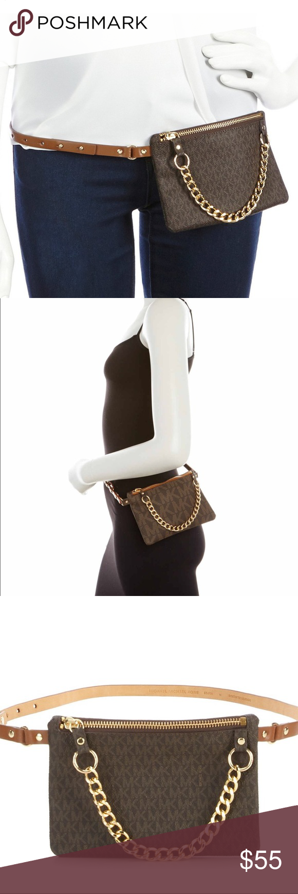 ... canada mk pull chain belt bag from michael kors this belt bag features  faux leather pull 552aef31adf20