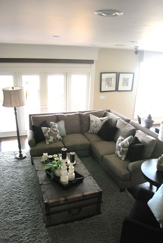 Gray And White Color Palette Sectional Sofa Love The Coffee Table