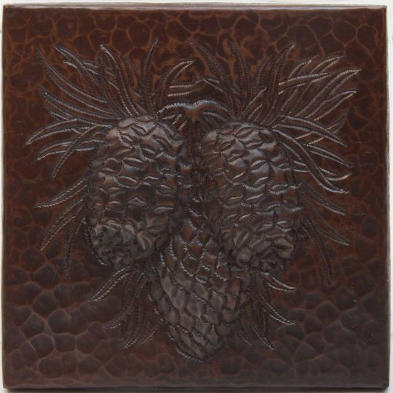 Hammered Copper Pinecone Tile On Ceramic Tile By CopperSinksDirect $10