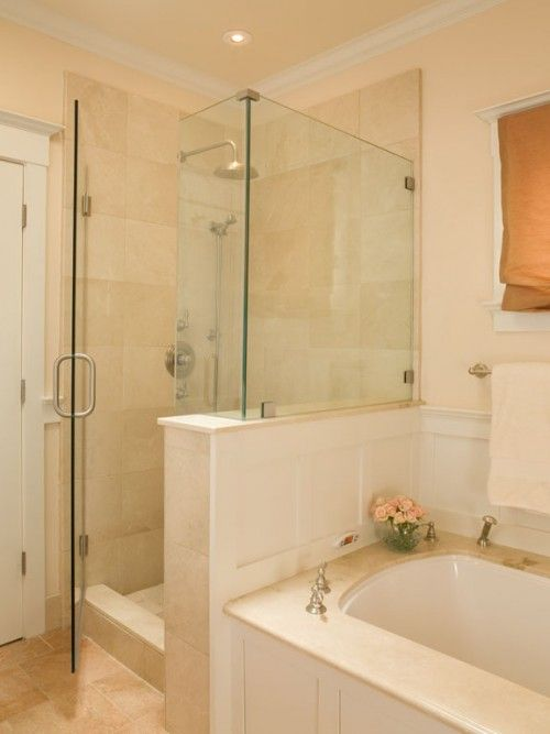 Shower Redo In Master This Is How Our Set Up But We Have A Wall Between And Tub I So Want To Do