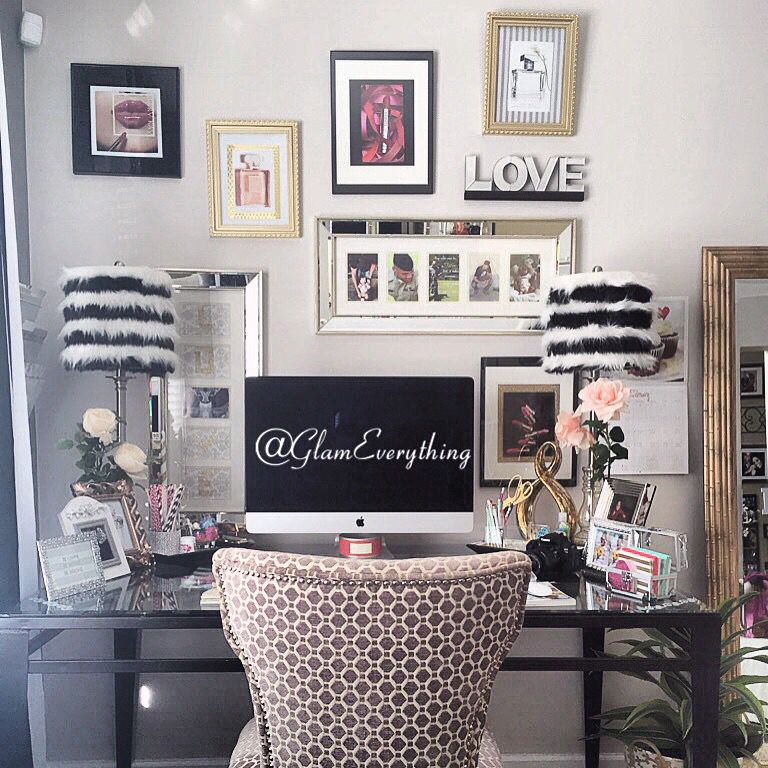 Home Office Design Ideas In Blush: Glamorous Home Office/ Beauty Room...Watch The Room Tour