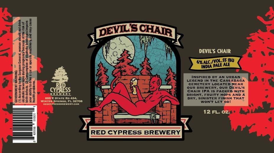 Red Cypress Brewery DevilS Chair Beer Label  Beer Labels