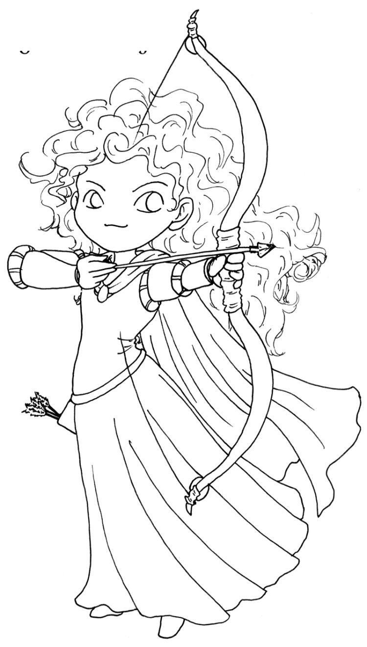 Line Drawing Disney : Posing of princess merida brave coloring pages