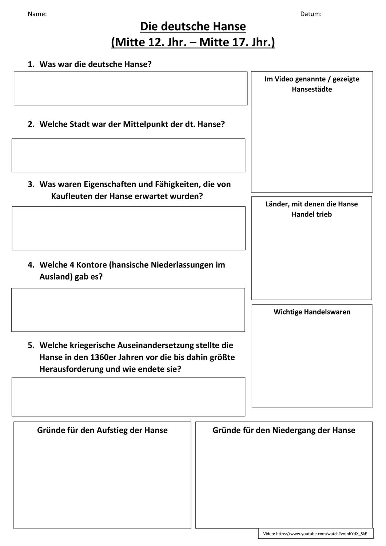 Ab Fur Video Zur Deutschen Hanse Unterrichtsmaterial Im Fach Geschichte Deutsche Hanse Unterrichtsmaterial Geschichte