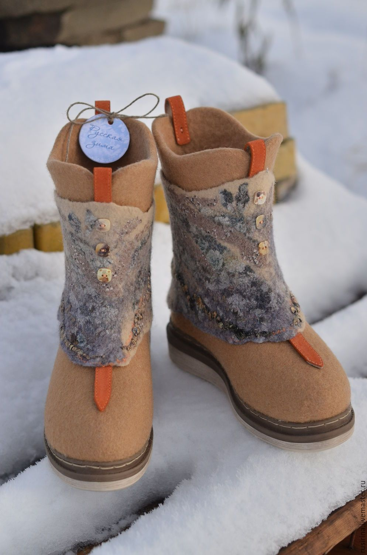 bc86758d4167 Купить Валяные сапожки-трансформеры. - бежевый, валяная обувь, сапоги  валяные, эко-обувь