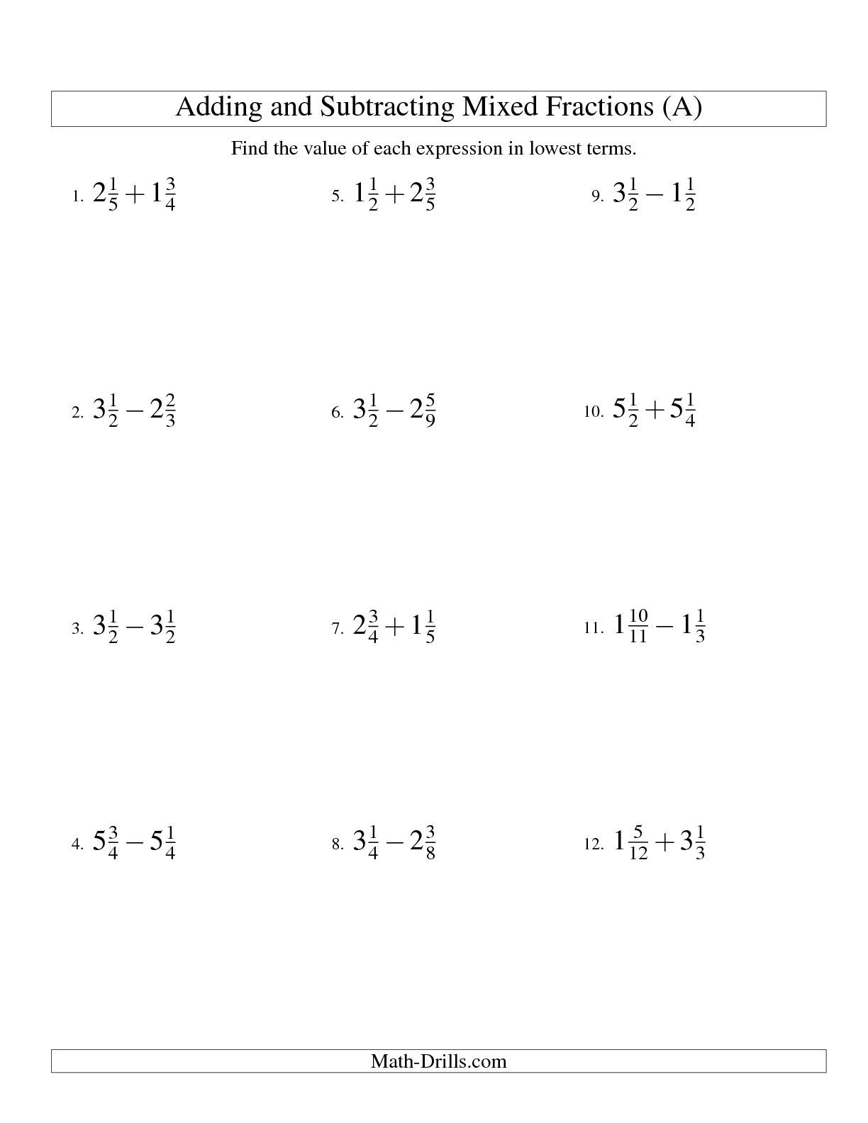 The Adding and Subtracting Mixed Fractions (A) math worksheet from the Fractions  Worksheet page at Math-D…   Fractions worksheets [ 1584 x 1224 Pixel ]