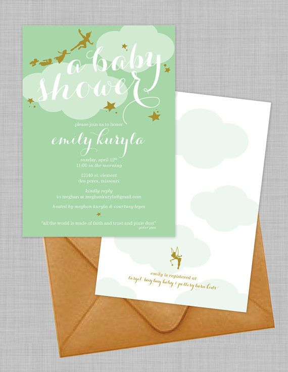customizable peter pan baby shower by courtneywinetdesign on etsy, Baby shower