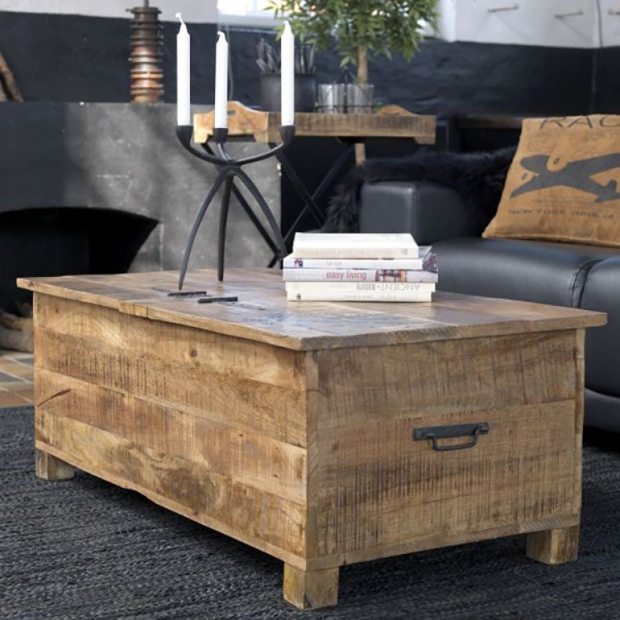 Meuble Tv Coffre Table Coffre Factory Manguier Massif Marron Living Room In