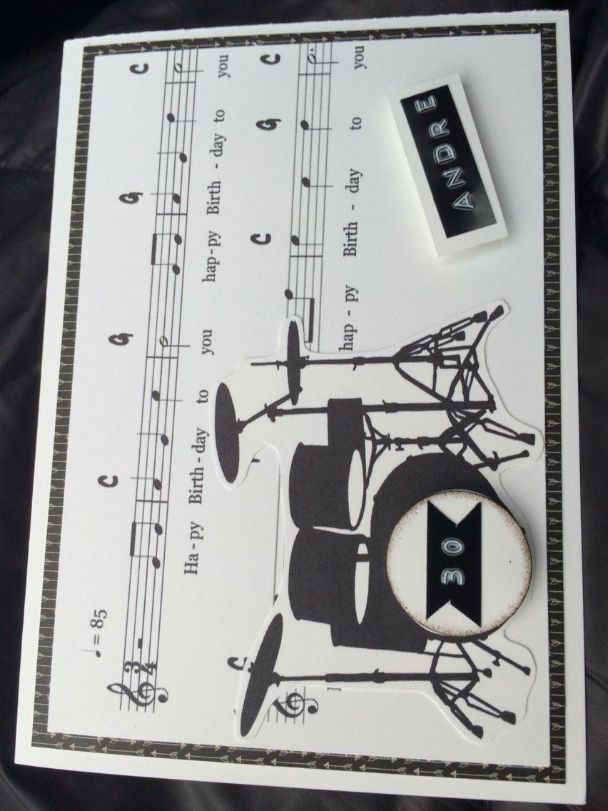 Geburtstagskarte Schlagzeug Geburtstagskarte Basteln